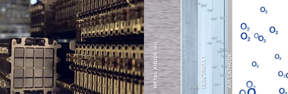 В алюминиево-воздушном аккумуляторе электричество получается при окислении алюминиевых пластин, погружённых в электролит, кислородом из окружающего воздуха (точнее, на выходе — тригидроксид алюминия)